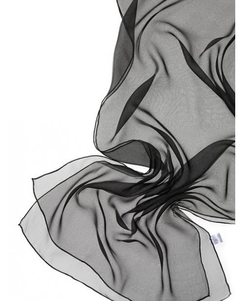 Šilkinis šalis 180x55cm juoda spalva Šifonas 3.5 100% šilkas