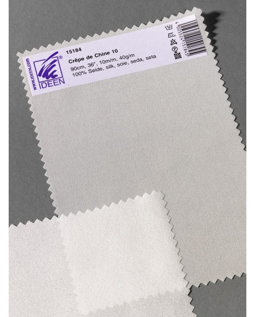 Crepe de Chine 12, 90cm pl. 50g/m, 100% šilkas, natūrali balta spalva