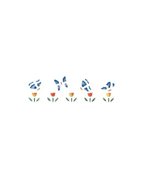 Trafaretas 13 x 40cm Drugeliai ant Tulpių (Butterflies in tulip bed)