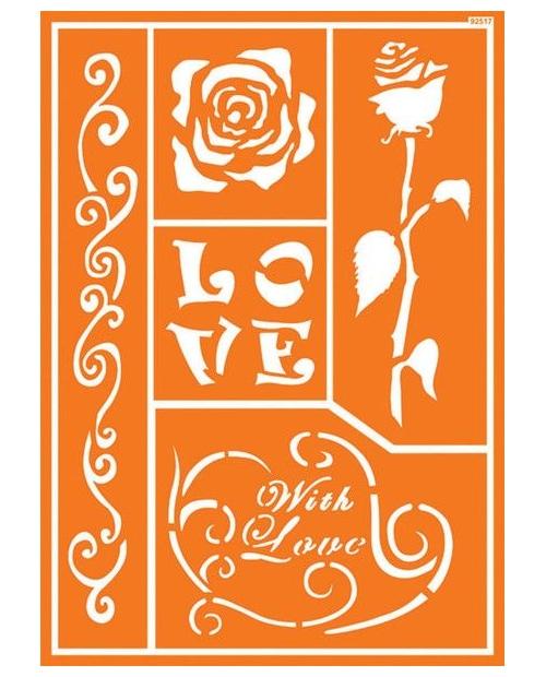 Trafaretas A4, Romantiška rožė (Romantic Rose)