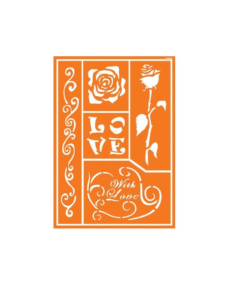 Trafaretai A4 Romantic Rose