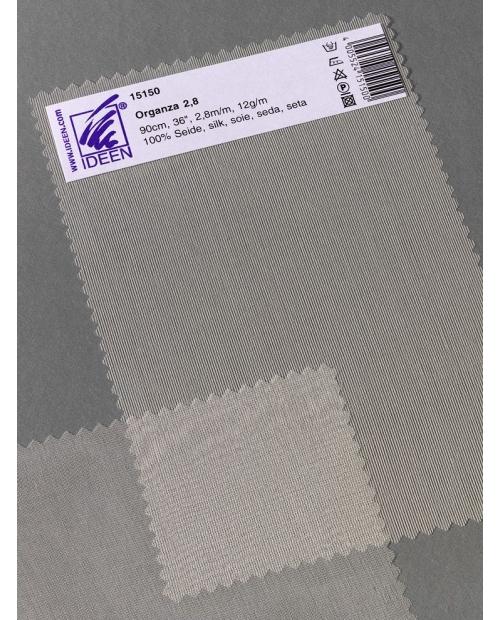 Organza 2.8 , 90cm pl. 12g/m, 100% natūralus šilkas, natūrali balta spalva