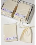 Natūralios baltos spalvos (nebalinta medvilnė) medvilniniai maišeliai 10x15cm su 1cm pločio virvute.