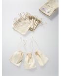 Natūralios baltos spalvos (nebalinta medvilnė) medvilniniai maišeliai 10cmx15cm su siaura virvele.