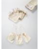 Natūralios spalvos medvilniniai maišeliai 10x15cm su siaura virvele.